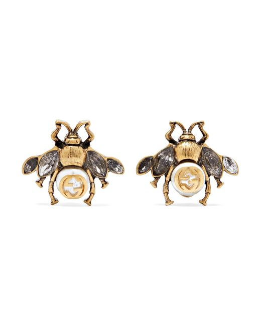 Gucci - Metallic Burnished Gold-tone, Faux Pearl And Crystal Earrings - Lyst