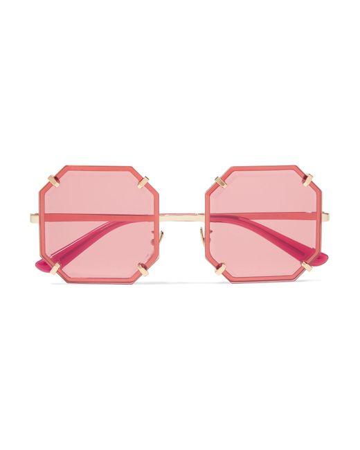 d578202c683a Dolce   Gabbana - Red Square-frame Gold-tone Sunglasses - Lyst ...