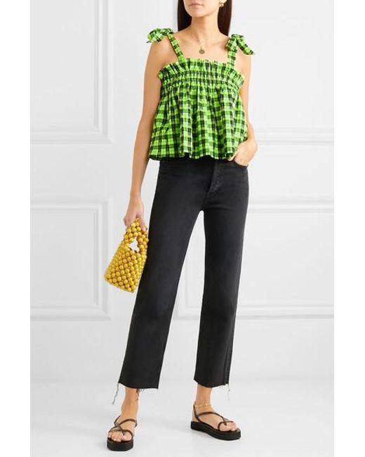 tarjouskoodit ostaa hyvää edullinen hinta Ganni Neon Checked Cotton-blend Seersucker Top in Green - Lyst
