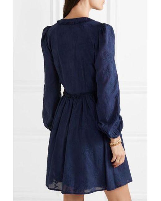 2453e34cf51e06 ... MICHAEL Michael Kors - Blue Embroidered Cotton-voile Mini Dress - Lyst  ...