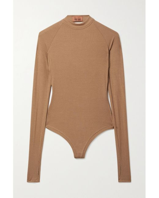 Alix NYC Natural Ives Twist-back Ribbed Stretch-modal Jersey Thong Bodysuit