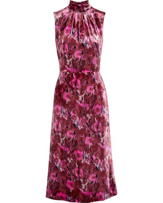 Prada | Pink Floral-print Velvet Midi Dress | Lyst