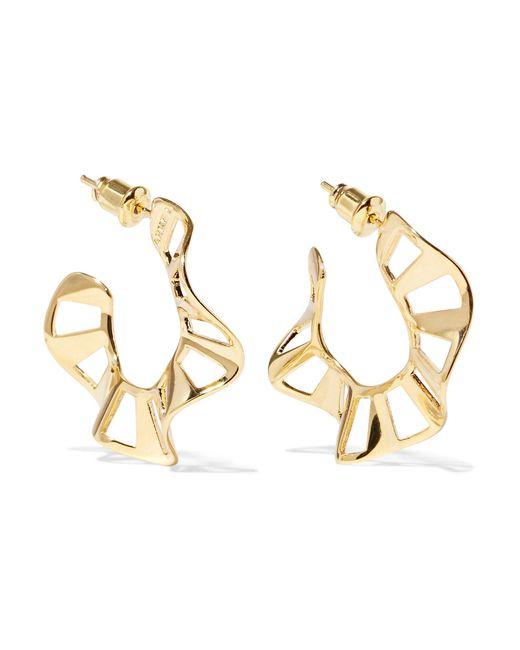 Arme De L'Amour | Metallic Stripe Ruffle Gold-plated Hoop Earrings | Lyst