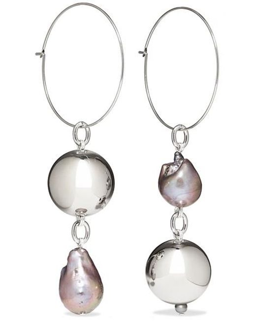 Women S Metallic Pagoda Fruit Rhodium Plated Pearl Earrings