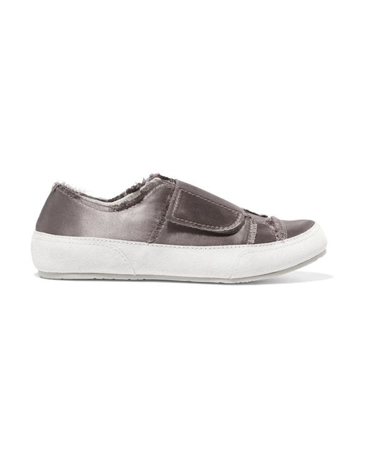 Pedro Garcia | Gray Palmira Suede-trimmed Frayed Satin Sneakers | Lyst
