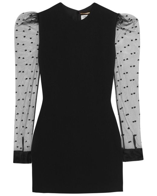 Saint Laurent - Black Flocked Tulle-paneled Crepe Mini Dress - Lyst