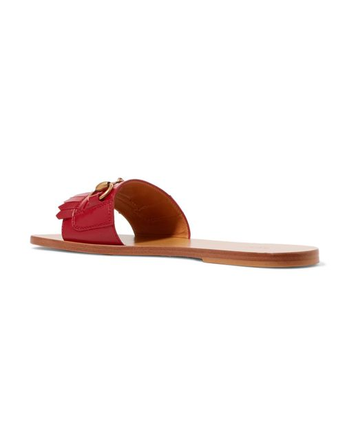 9a8e413b054aa ... Gucci - Red Varadero Horsebit-detailed Leather Slides - Lyst ...