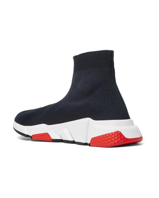 Chaussures De Sport De Haute Vitesse De Pointe Logo Imprimé En Tricot Extensible-noir - Balenciaga TqGhVt