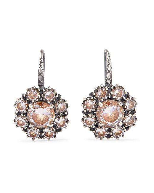 Bottega Veneta | Metallic Oxidized Silver Crystal Earrings | Lyst