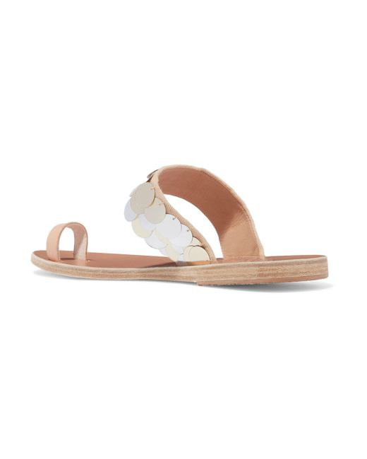 Thraki Embellished Canvas And Leather Sandals - Silver Ancient Greek Sandals vr7z4uO