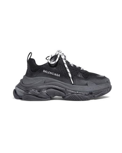 Balenciaga Black Triple S Clear Sole Logo-embroidered Leather, Nubuck And Mesh Sneakers