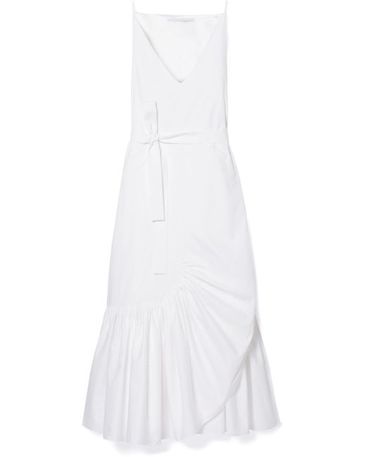 Rosetta Getty - White Belted Ruffled Cotton-poplin Midi Dress - Lyst