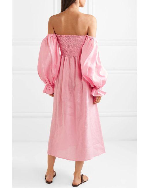 b489ea8184 ... Sleeper - Pink Atlanta Off-the-shoulder Shirred Linen Midi Dress - Lyst  ...