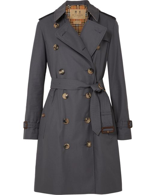 Burberry - Gray The Kensington Cotton-gabardine Trench Coat - Lyst