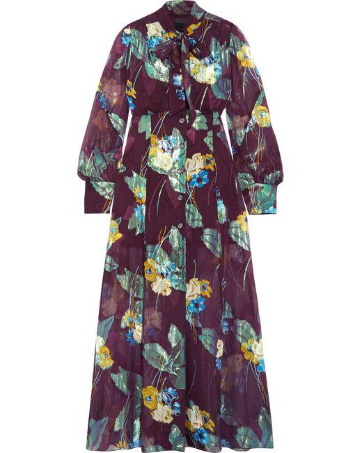 Anna Sui | Multicolor Blithe Spirit Fil Coupé Silk-blend Chiffon Midi Dress | Lyst