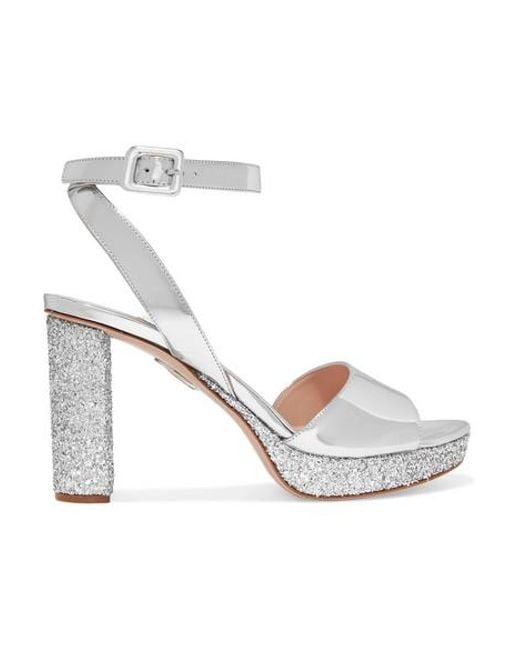 Miu Miu Metallic Glittered Mirrored-leather Platform Sandals