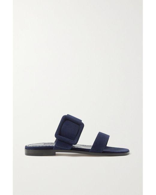 Manolo Blahnik Blue Tituba Buckled Suede Sandals