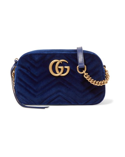 Gucci Gg Marmont Small Quilted Velvet Shoulder Bag in Blue - Lyst 0b48ee017158c