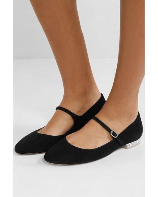 acdde3810 ... Sophia Webster Black Toni Crystal And Faux Pearl-embellished Suede Mary  Jane Ballet Flats ...