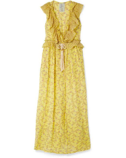 Yvonne S - Yellow Marie-antoinette Ruffled Floral-print Linen Maxi Dress - Lyst