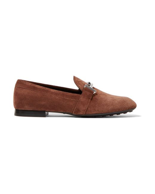 tod s suede loafers in brown lyst
