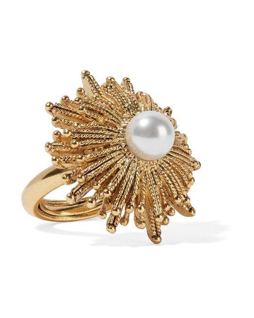 Oscar de la Renta | Metallic Sun Star Gold-plated Faux Pearl Ring | Lyst