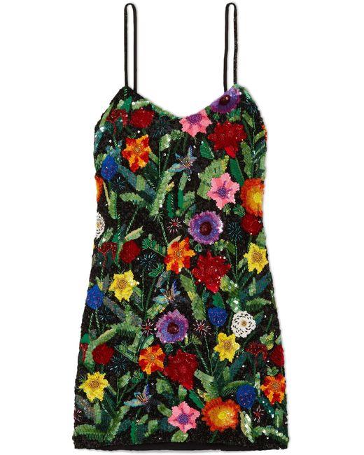 Ashish - Black Sequined Silk-georgette Mini Dress - Lyst
