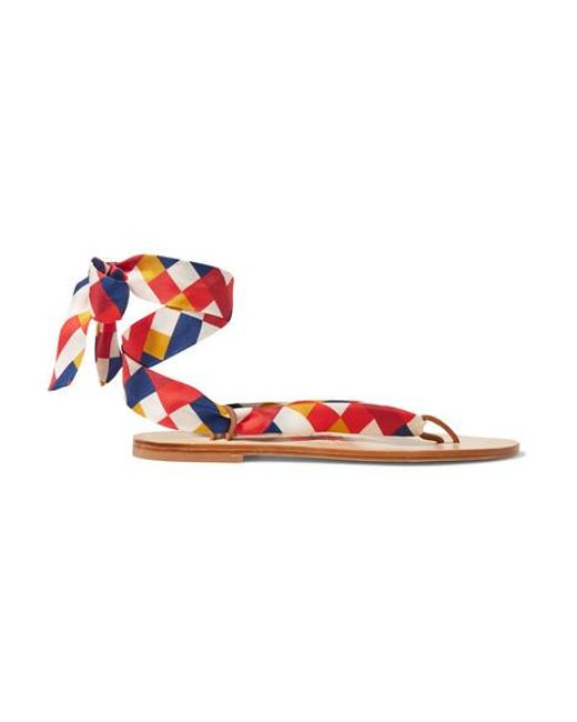 Eres Red Mosaic Nupie Suede-trimmed Printed Silk-twill Sandals