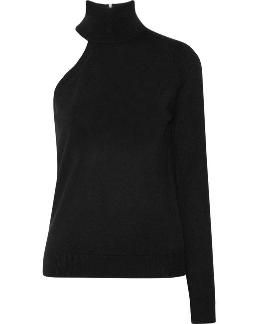 Michael Kors | Black Asymmetric Cashmere Turtleneck Sweater | Lyst