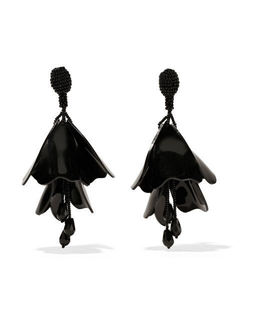 Oscar de la Renta | Black Mini Impatiens Beaded Clip Earrings | Lyst