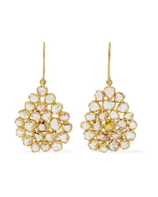 Pippa Small   Metallic 18-karat Gold Diamond Earrings   Lyst