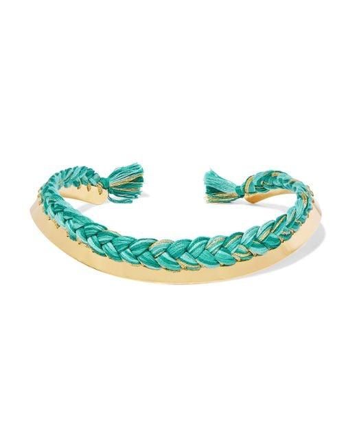 Aurelie Bidermann | Green Gold-plated Braided Cotton Choker | Lyst