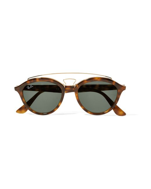 Ray-ban Round-frame Acetate And Gold-tone Sunglasses in ...