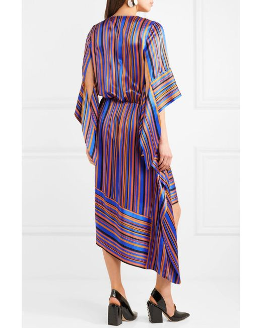Asymmetric Wrap-effect Striped Silk-satin Dress - Purple Petar Petrov Classic Sale Online Recommend Buy Cheap Pre Order j1oD5
