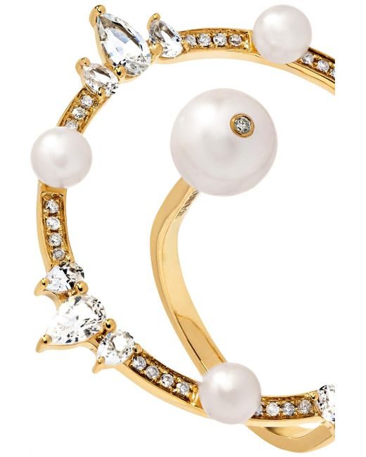 Anissa Kermiche Orbite 18-karat Gold, Diamond And Pearl Ring