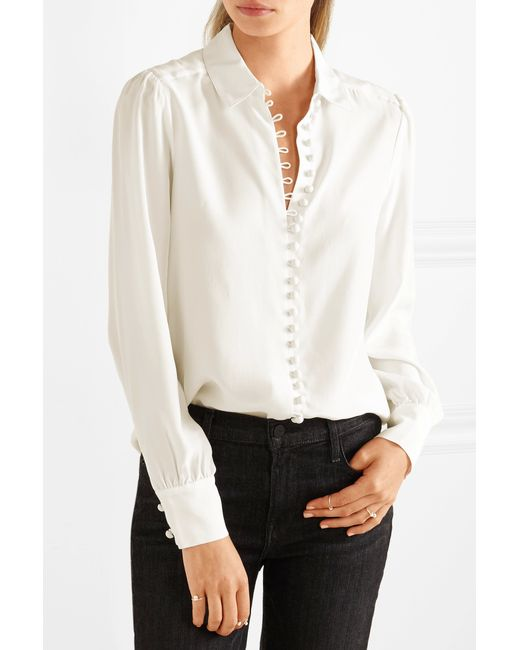 Frame Victorian Washed Silk Blouse In White Lyst