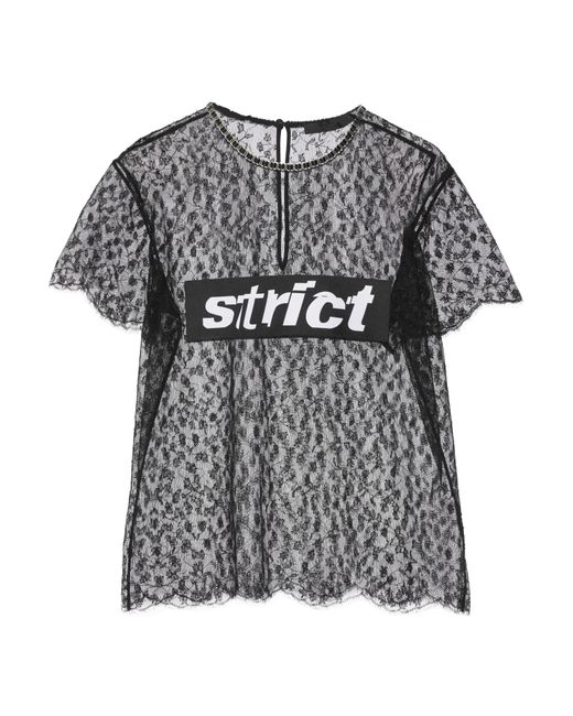 Alexander Wang | Black Lace T-shirt With Strict Patch | Lyst