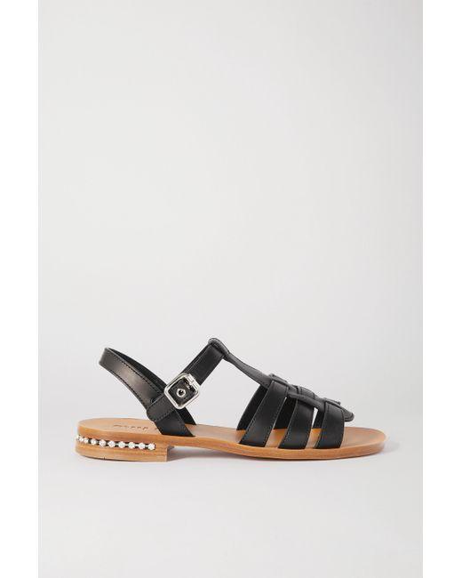 Miu Miu Black Sandalen Aus Leder Mit Kristallen