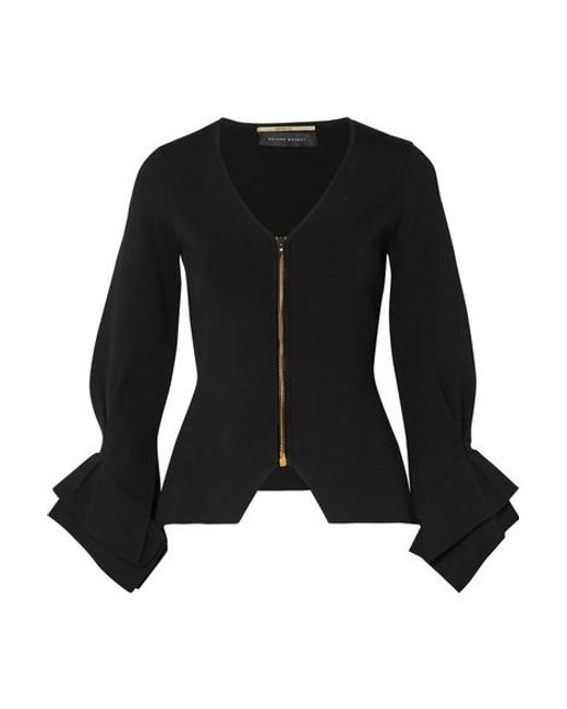 Roland Mouret Black Draped Stretch-knit Jacket