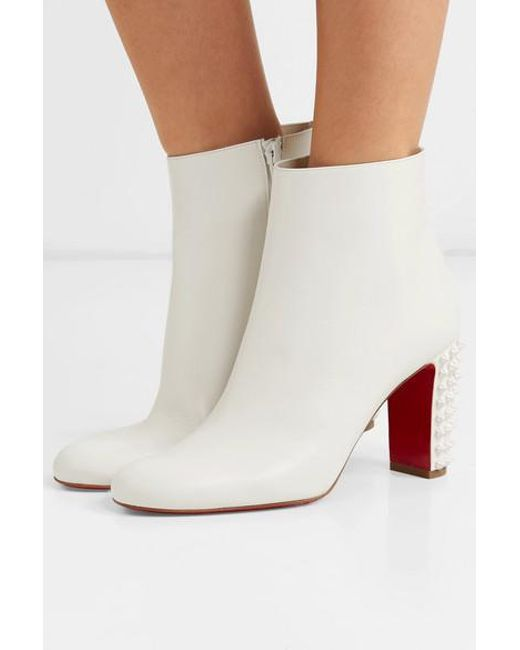 brand new cbf37 fe95d Women's White Suzi Folk 85 Spiked Leather Ankle Boots