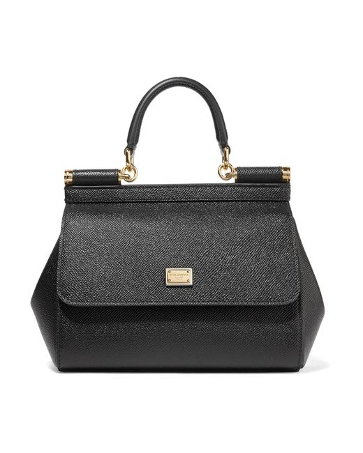 a338518b48e Dolce   Gabbana - Black Sicily Small Textured-leather Tote - Lyst ...
