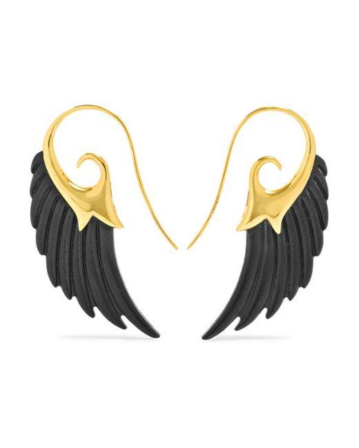 Noor Fares | Metallic Wing 18-karat Gold Ebony Earrings | Lyst