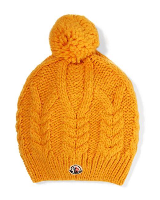 Moncler - Yellow Appliquéd Cable-knit Beanie - Lyst