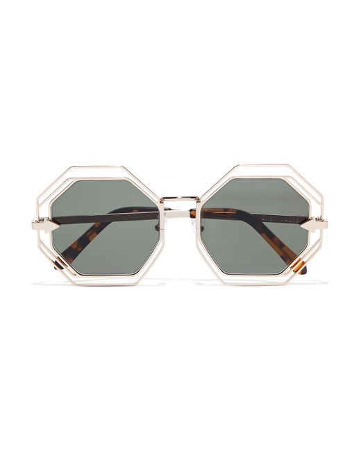 Karen walker Emmanuel Round-frame Gold-tone Sunglasses in ...