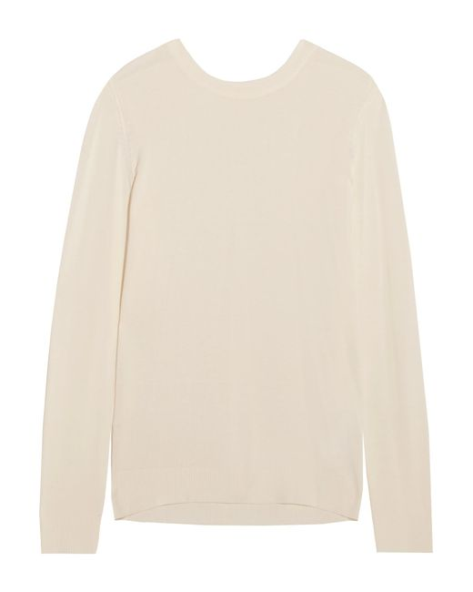 MM6 by Maison Martin Margiela | Natural Pleated Crepe-paneled Knitted Sweater | Lyst