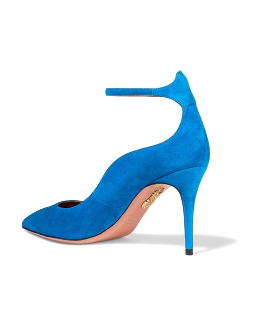 Aquazzura Dolce Vita Suede Pumps in Blue | Lyst