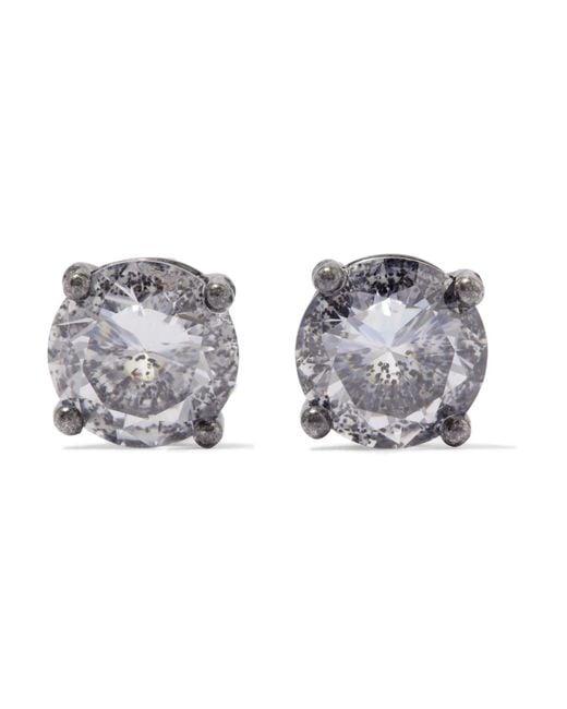 Bottega Veneta | Metallic Oxidized Silver Cubic Zirconia Earrings | Lyst