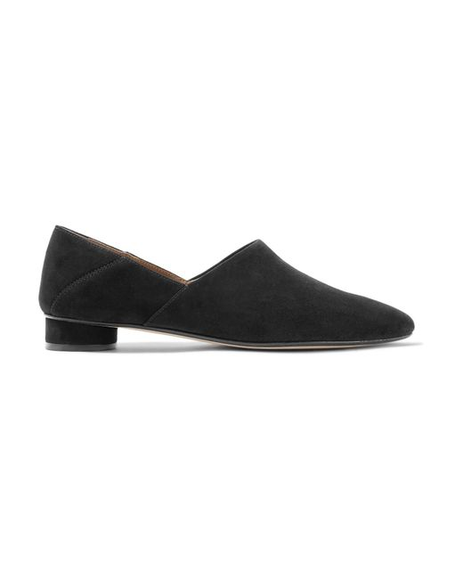 The Row | Black Noelle Suede Loafers | Lyst