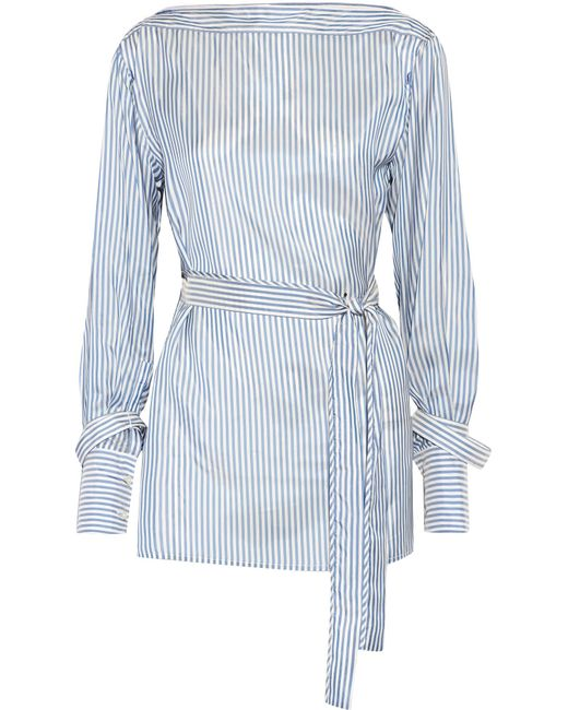 Calvin Klein | Blue Striped Satin-twill Top | Lyst