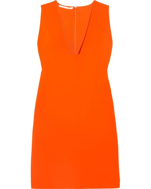 Stella McCartney | Orange Stretch-cady Mini Dress | Lyst